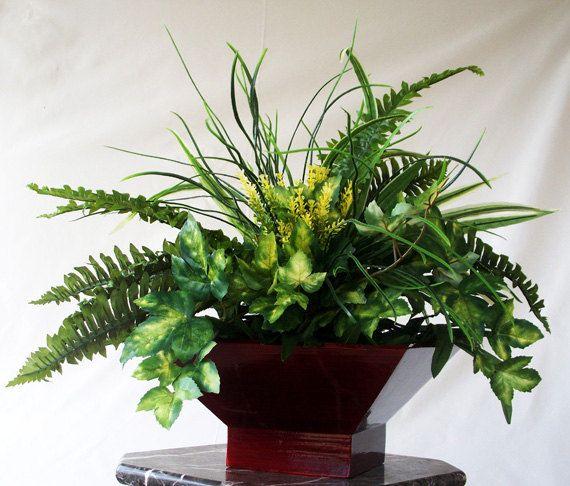Silk Plant Artificial Faux Greenery Arrangements Centerpieces Fl Fern Tabletop Office Decor Arrangement For The Home