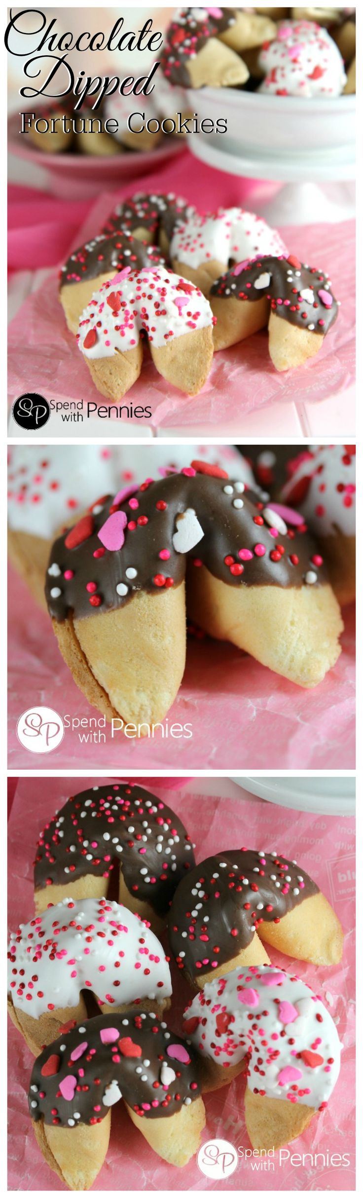 Chocolate Covered Fortune Cookies are the perfect treat!  Inexpensive, yummy and super easy to make...  change up the sprinkles for any occasion from birthday to baby shower!