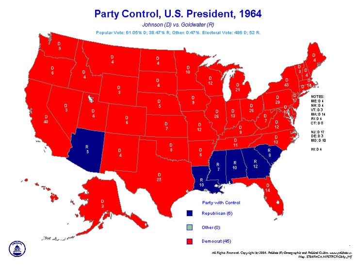 election 1964   ELECTION MAPS FOR SALE-PRESIDENT BY STATE for 1964