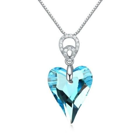 Necklaces silver Blue crystal and gem pendant