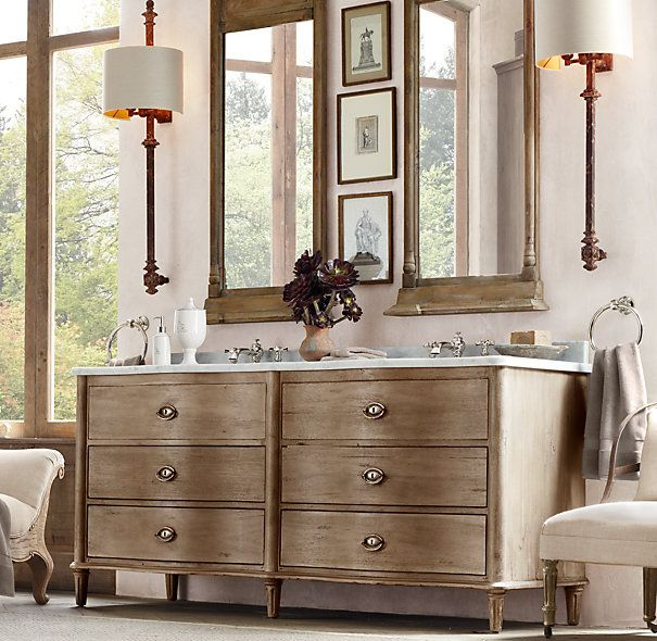 Elegant  Double Vanity Sink Antiqued Coffee Oh How I Love Restoration Hardware