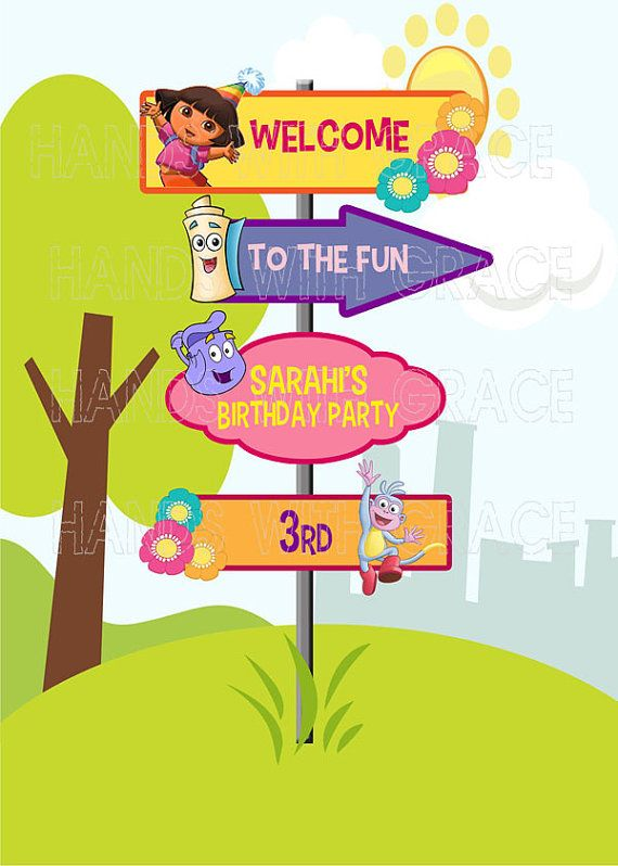 Printable custom signage for party Dora the by HandswithGrace