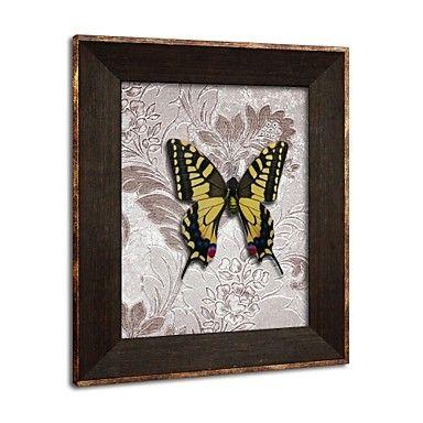 omlijst 3d kunst kunst aan de muur, dier 3d vlinders op gesatineerd papier 3d muur afdrukken met bruine ps kader - EUR € 58.17
