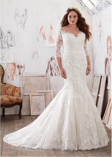 Stunning Tulle Satin Bateau Neckline Plus Size Mermaid Wedding Dresses With Lace Liques