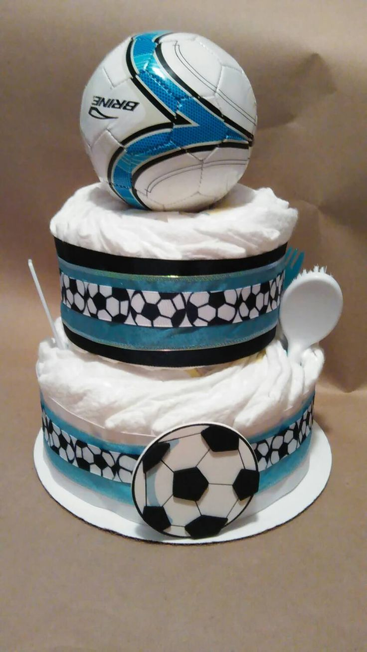 Diaper cake(2tier soccer ball) by handcraftedgiftsgal on Etsy