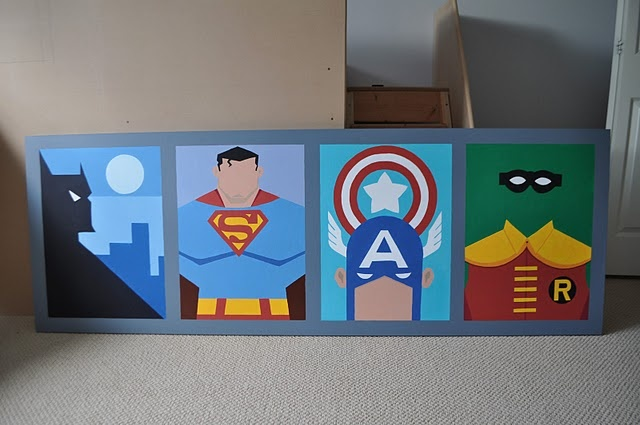 I'm going to attempt to replicate this in the very near future. The boys are all about super heros right now, so I think it's time to hang up the space theme and move on. I'll make two with Batman, Captain America, Iron Man, Cyclops, WarMachine, Wolverine, Spiderman,and Magneto.