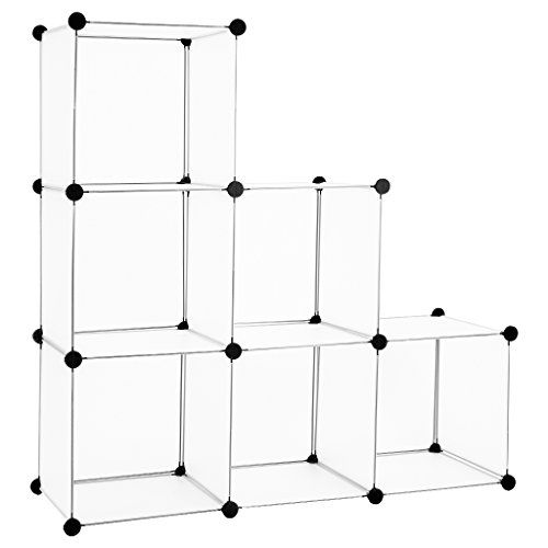 From 15.69:Langria Interlocking Plastic Wardrobe Cabinet 6-cube Open Storage And Organizer With Translucent Panel Design For Personal Items Clothes Shoes Toys And Books 75 X 37 X 111cm White