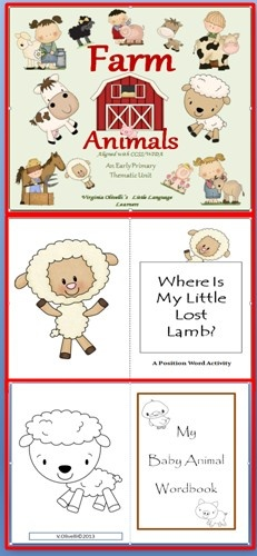 """This Farm Animals Thematic Unit is """"one stop shopping"""" for all your needs in teaching young children about farm animals. Your students will learn the unit's concepts and vocabulary through poems, read alouds, writing prompts, language learning strategies, guided writing techniques. math activities, art/writing projects and much more. CCSS and WIDA standards are provided. Teaching points to help guide your teaching agenda for your unit of instruction are available."""