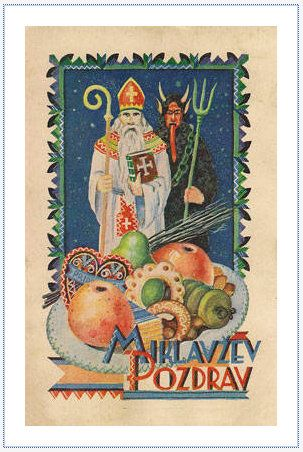 A holiday postcard from Poland with Krampus  and St. Nicholas. The text 'Miklavžev Pozdrav' says  'Nicholas' Greetings' or 'Welcome Nicholas' in Slovak