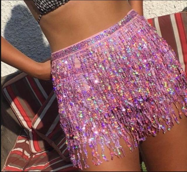 5de6b1935184 sequin glitter patchwork fringe Half-body Skirt short silver sequin Ra -  Electric After Party
