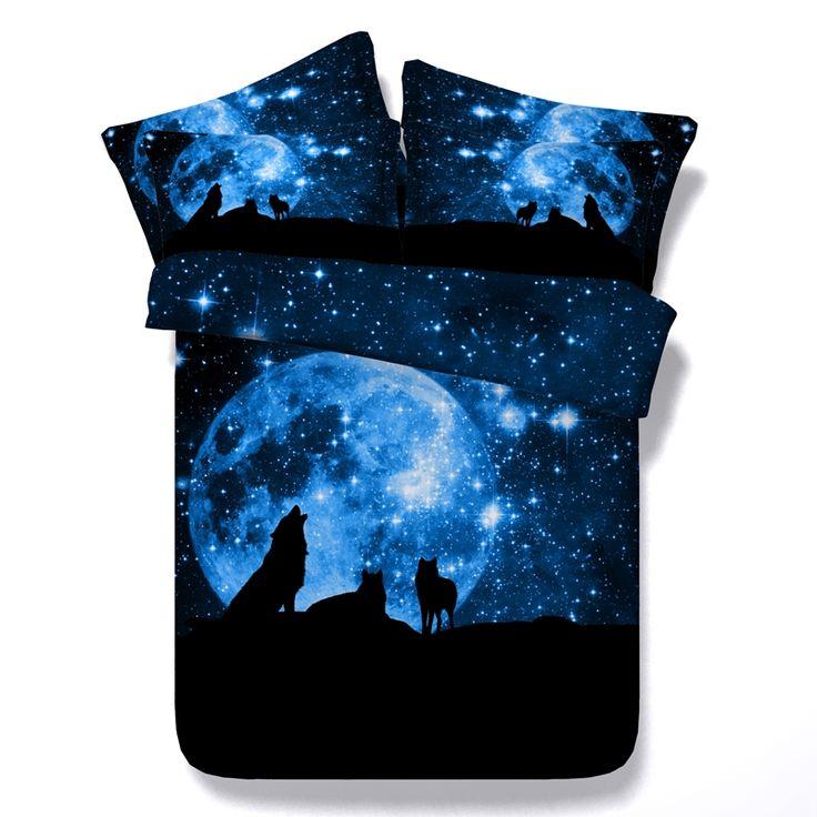 Best selling galaxy tema luar lobo roar estrela galaxy conjunto tampa de cama twin/queen/king/super king tamanho conjunto de cama colchas(China (Mainland))