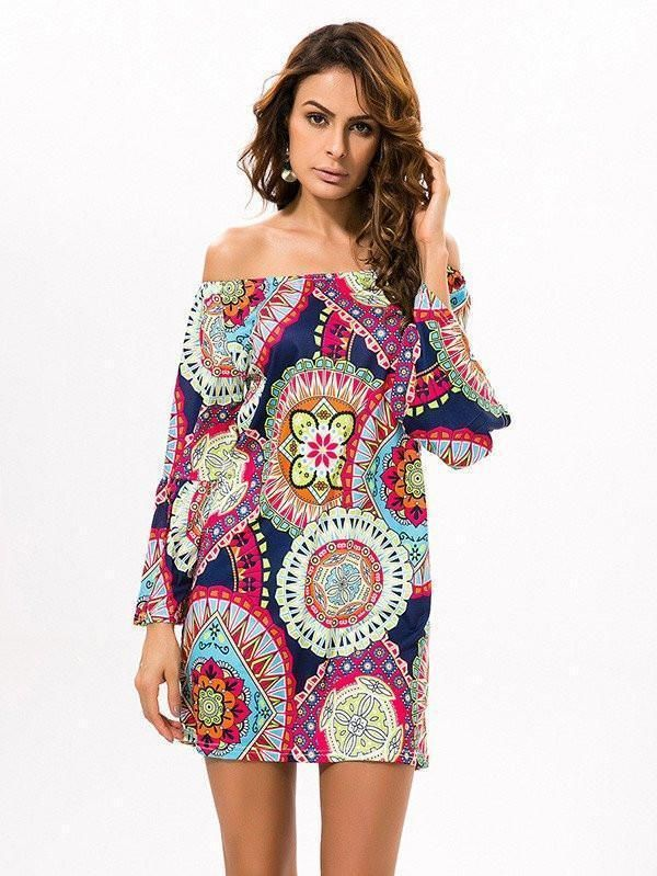 Fashion Floral Bohemia Off Shoulder Long Trumpet Sleeve Bodycon Mini Dress 7