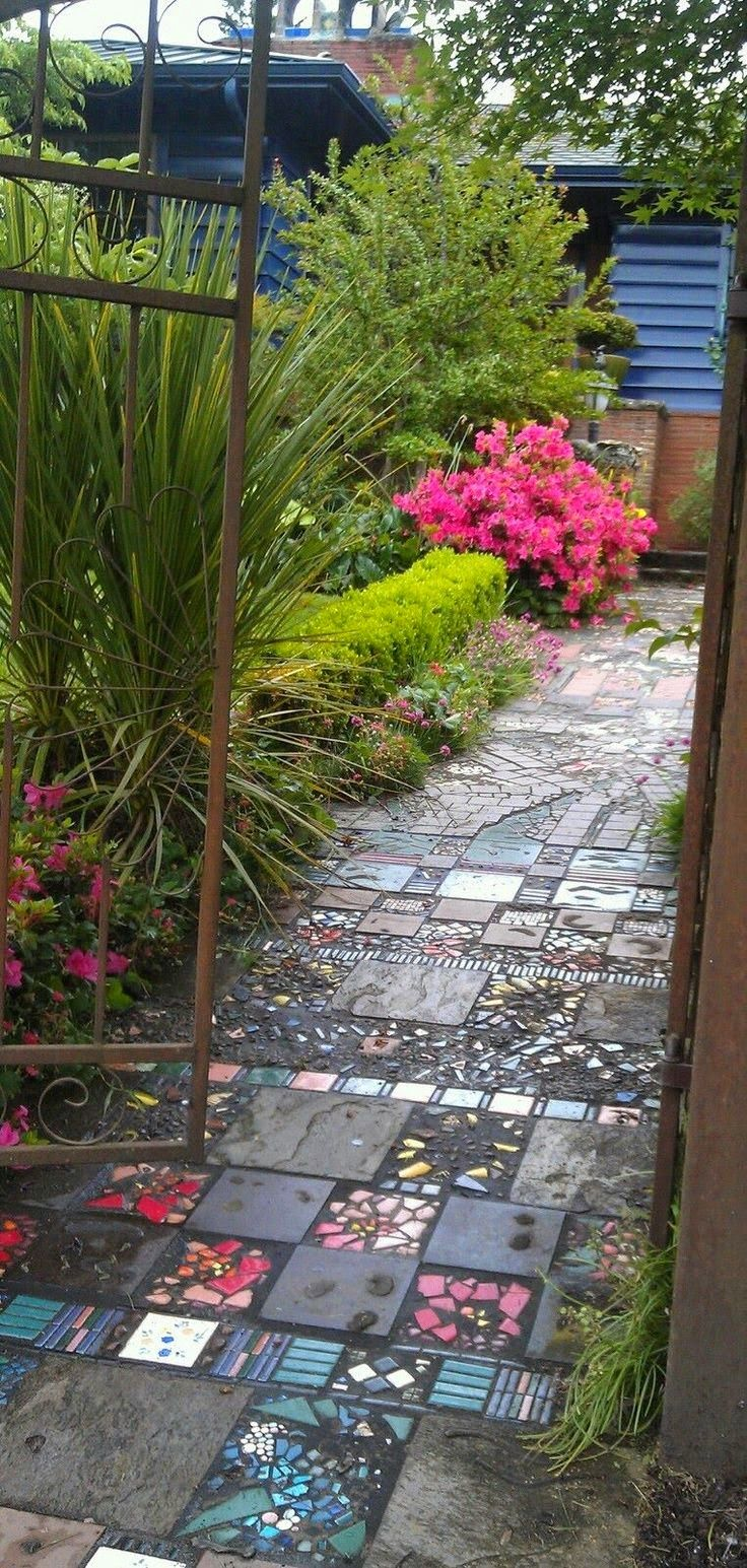 A Beautiful & Enchanting Garden Path - Interesting and harkens back to the 1955 tile floors
