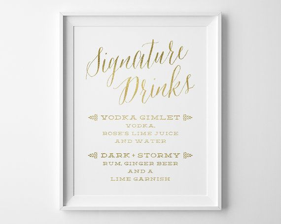 Choose this modern yet classic sign to share your signature drinks.  NOTE: The color/texture are digitally printed, not shiny metallic gold.