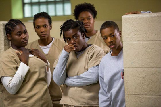 Taystee, Janae Watson, Crazy Eyes/Suzanne, Cindy and Poussey. Orange is the New Black Season 2