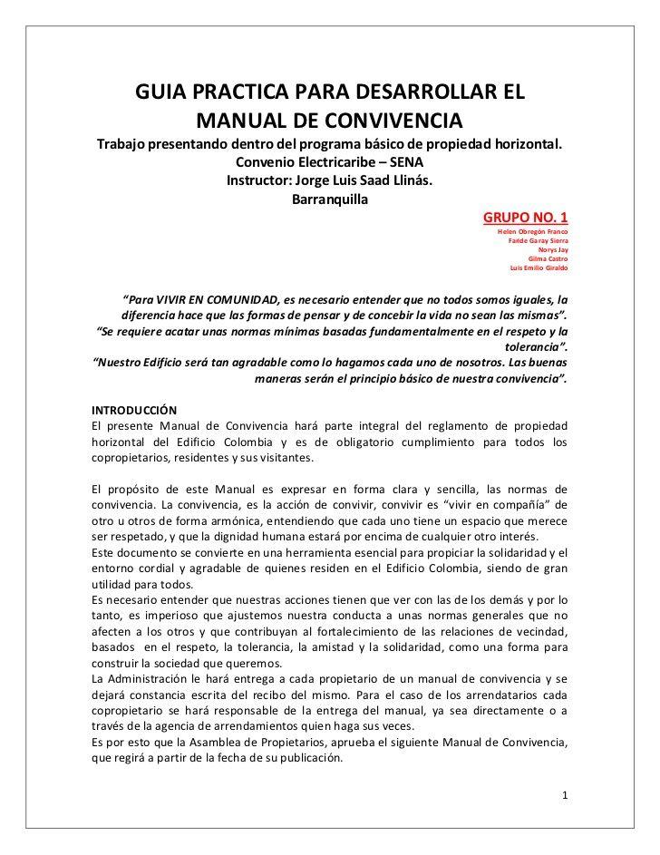 GUIA PRACTICA PARA DESARROLLAR EL MANUAL DE CONVIVENCIATrabajo presentando dentro del programa básico de propi...