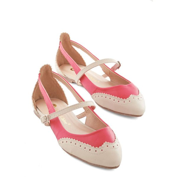 Vintage Inspired Tappy and You Know It Flat ($35) ❤ liked on Polyvore featuring shoes, flats, ballet flat, pink, flat, ballerina pumps, pink ballerina shoes, pink ballet flats, ballerina shoes and flat pumps