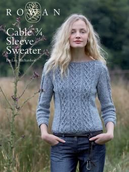 Cabled Three Quarter Sleeve Sweater Rowan free knitting pattern Modèle de tricot gratuit pull-over torsades
