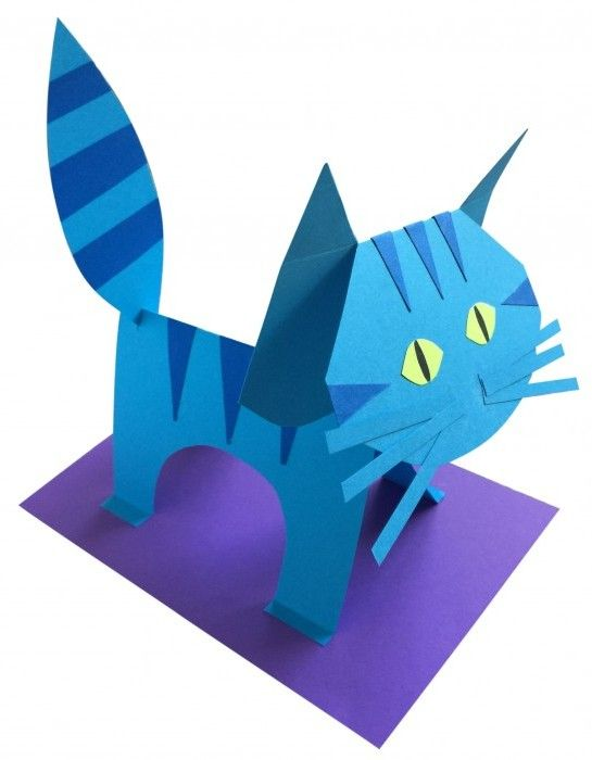 225 best art lessons 3d paper images on pinterest kids for Cat art and craft