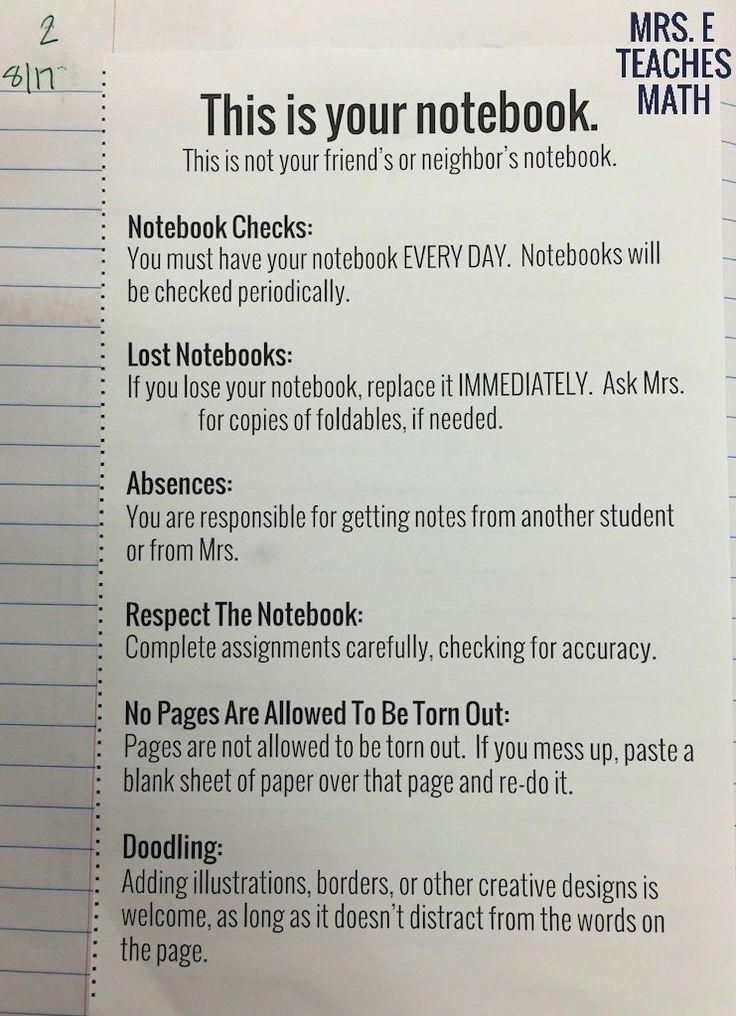 interactive notebook set up for high school students
