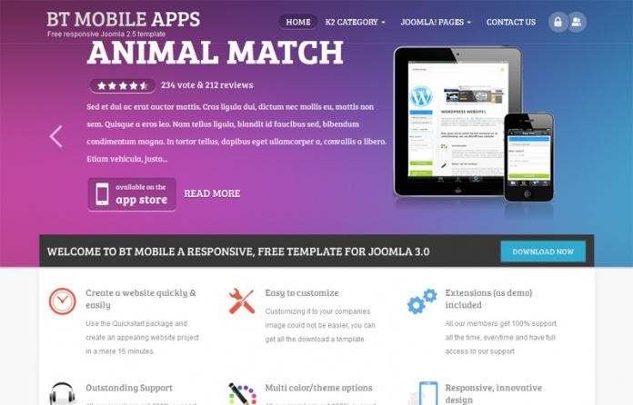 BT Mobile App is #Free, Full-Responsive #Joomla Template for all kinds of online #business.
