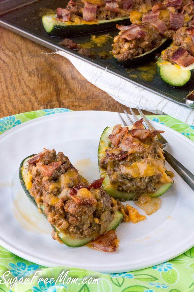 Bacon Cheeseburger Stuffed Zucchini Boats- low carb, keto, atkins, THM- sugarfreemom.com