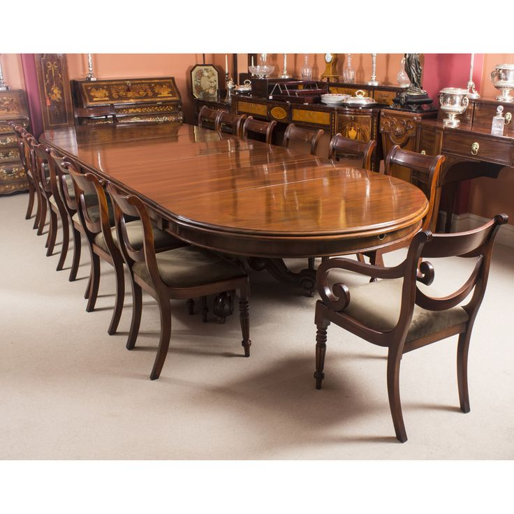 a fantastic and rare antique victorian dining set comprising a 14 ft dining table and - Mahogany Dining Table