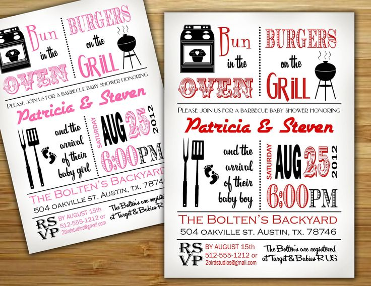 Baby Shower Invitation   Boy Girl Baby Shower BBQ Barbecue Invite  DIY  Barbecue Couples Shower