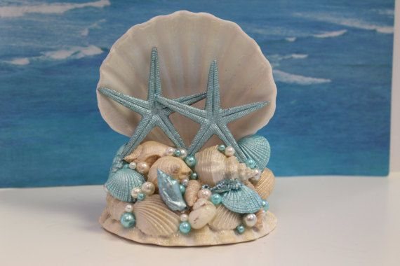 Beach Wedding Cake Topper / Coastal Wedding / Seashell Cake