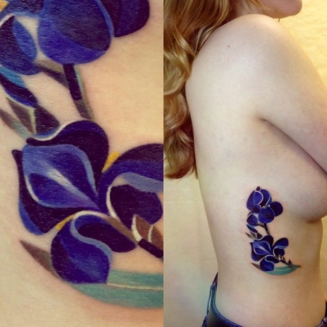 Bright Blue Iris Flower Tattoo By Sasha Unisex http://www.noregretsstudios.co.uk/watercolour-like-tattoos-by-sasha-unisex/