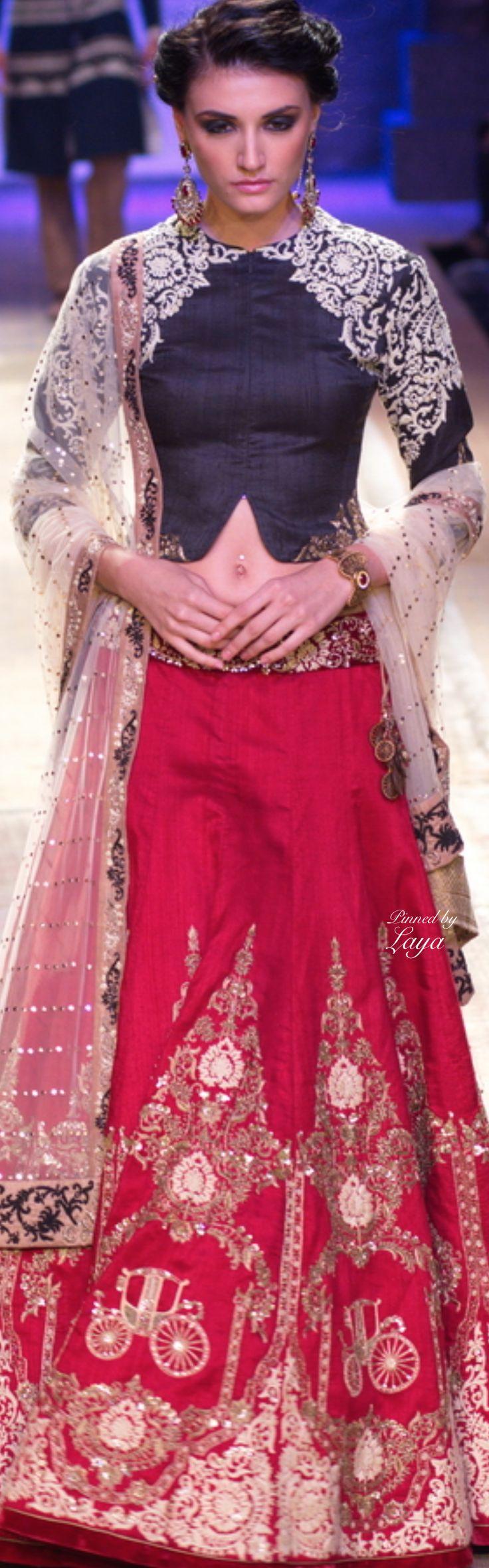 Indian bridal lehenga inspiration by Anju Modi Fall/Winter 2014-15❋Laya