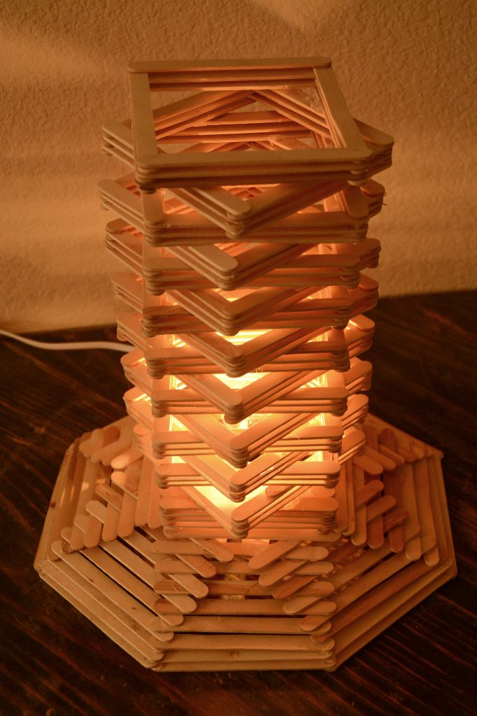 Cool craft stick lamp with a geometric design.