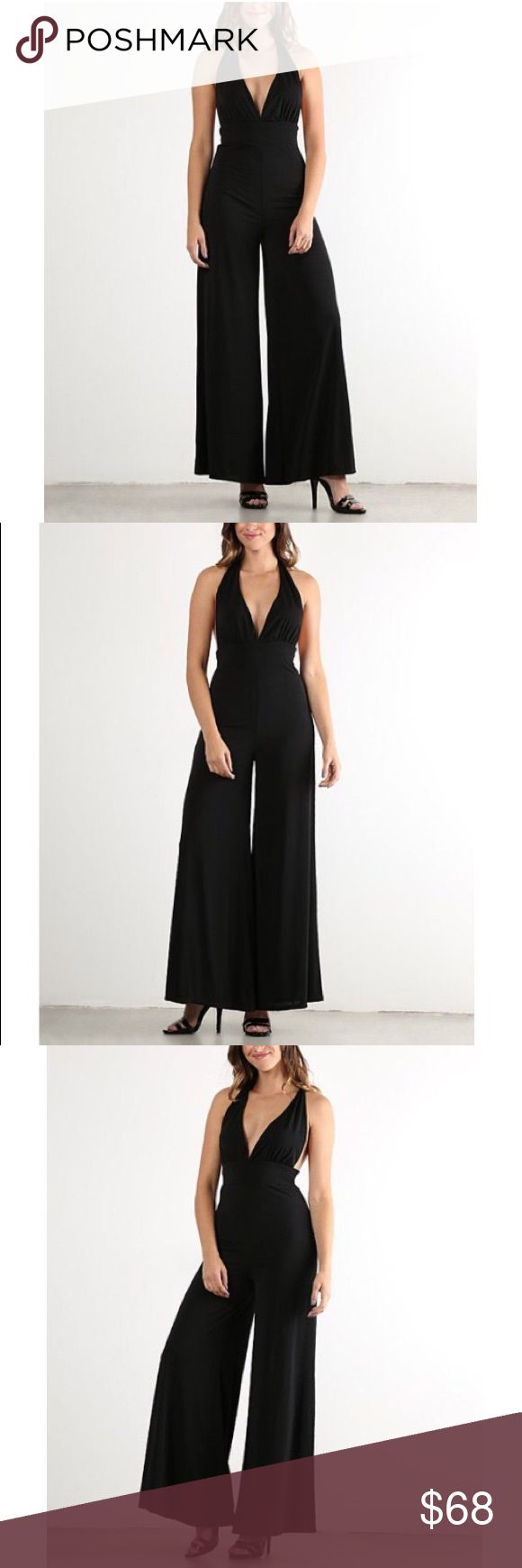 Black Plunge Deep V Halter Jumpsuit This jumpsuit is so classy and breezy. It's style is versatile as it can be worn to a date or just on the beach. Pair with a gorgeous pair of strappy heels and you're all set for your date or special occasion OR simply wear a nice pair of flip flops and a floppy hat and #beachplease! While you're deciding which look you want to go for, feel free to make an offer! 😉 J-Mode Pants Jumpsuits & Rompers