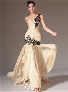 les robes de bal sirène chérie une épaule en mousseline ébouriffées