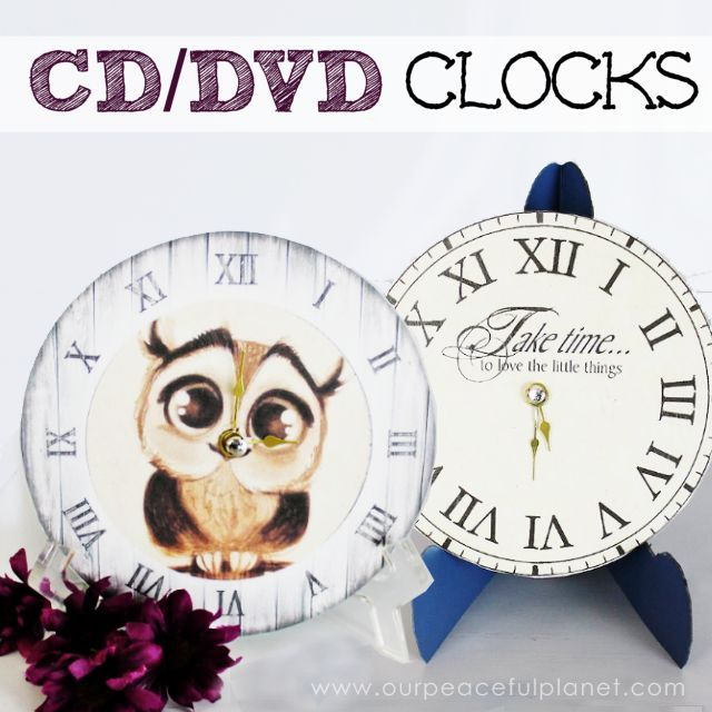 How to turn old CDs and DVDs into clocks.  Maybe for the guest bathrooms.  I like a clock in the bathroom so you don't dawdle.