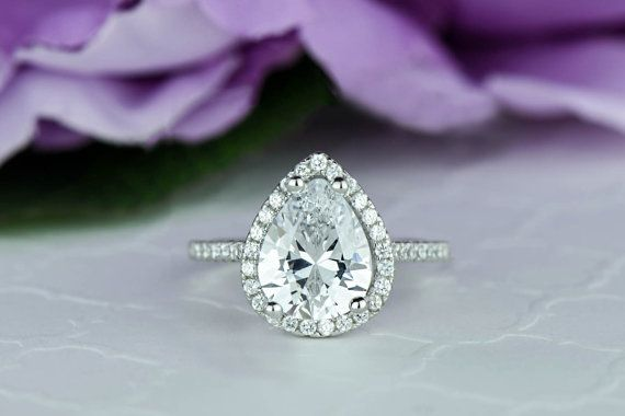 2.5 ctw Classic Pear Cut Halo Engagement Ring by TigerGemstones