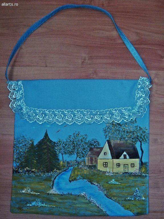 Arta decorativa Imprimeuri textile Geanta textil pictata manual