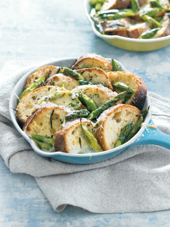Bread Pudding with Asparagus and Fontina Cheese