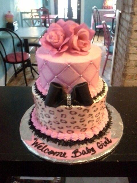 Cheetah Baby Shower Cake