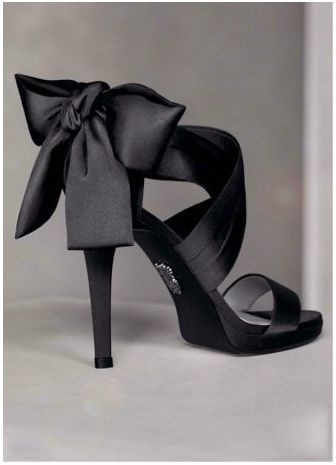 Vera Wang Black Open-Toe Pump with Draped Satin Straps