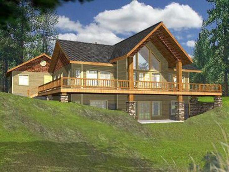 49 best hillside home plans images on pinterest house for Mountain cabin plans hillside