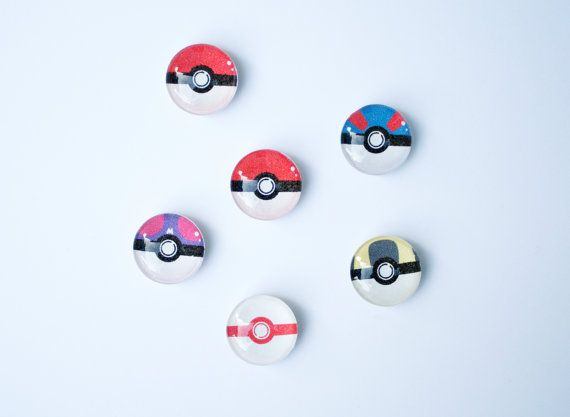 Glass Pokeball Magnet Set  Fridge Magnets Master by TomelCreations