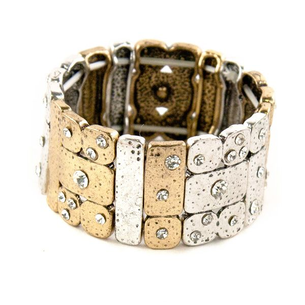 A gold and silver 'Pavers' stretch bracelet with sparkling diamantes. Complete your look with this stunning bracelet.
