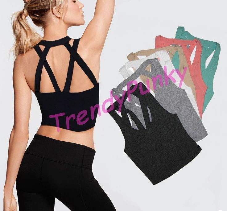 Women Caged Cropped Top Bustier Cutout Shirt Strappy Bralette Tank Cami Yoga #PKS #CagedCropTop #CasualSporty