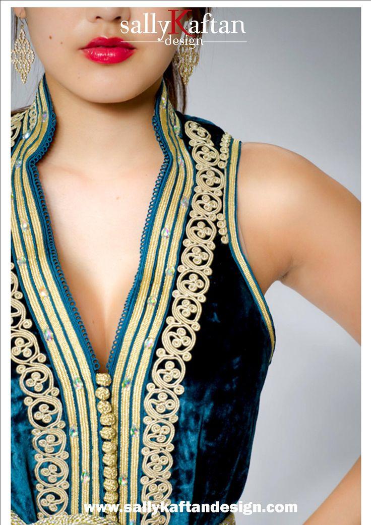 Green ''Emeralda '' Moroccan Formal Dress Kaftan/Caftan. Order from www.sallykaftandesign.com