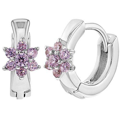 925 Sterling Silver Pink CZ Huggie Small Hoop Earrings Infants Girls 0.39