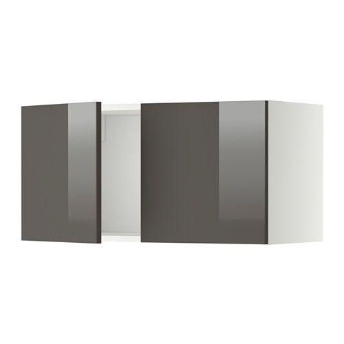 IKEA - METOD, Élément mural 2 portes, blanc, Ringhult brillant gris, , Structure de construction solide - 18 mm d'épaisseur.Charnières à clipser qui se montent sur la porte sans vis. Permet d'enlever aisément la porte pour l'entretien.