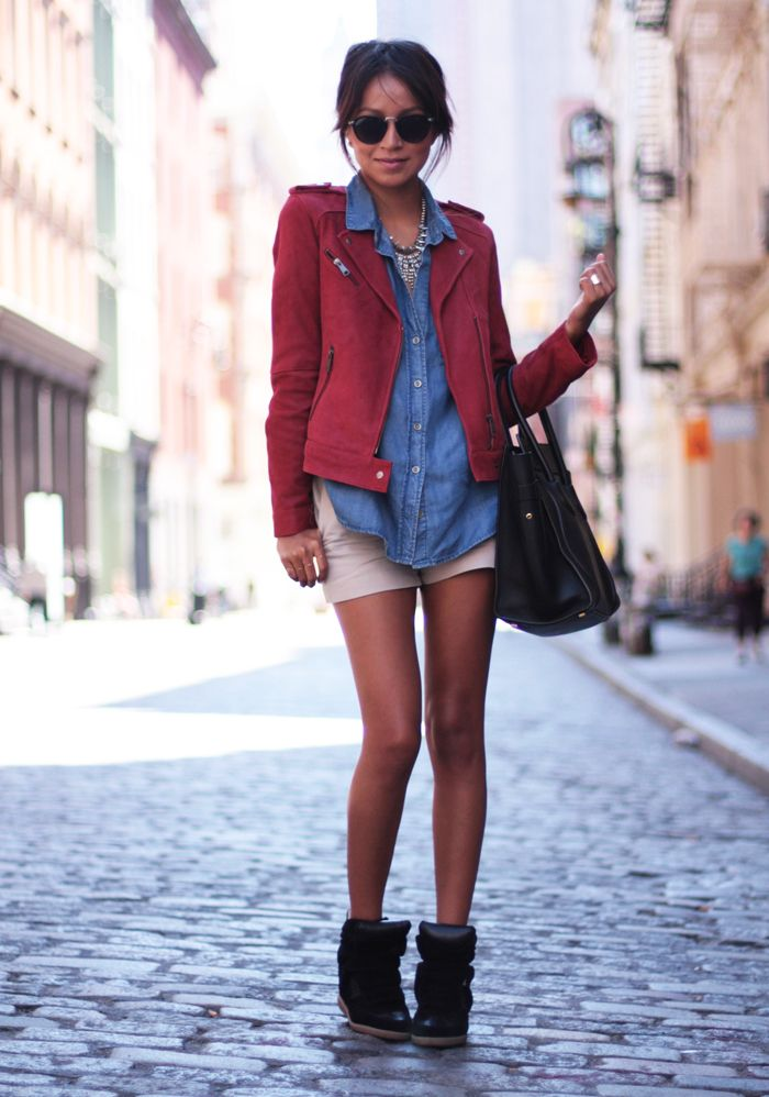 Fashion, Fall Style, Biker Jackets, Street Style, Denim Shirts, Sincerely Jules, Isabel Marant, Wedges Sneakers, Denim Shorts
