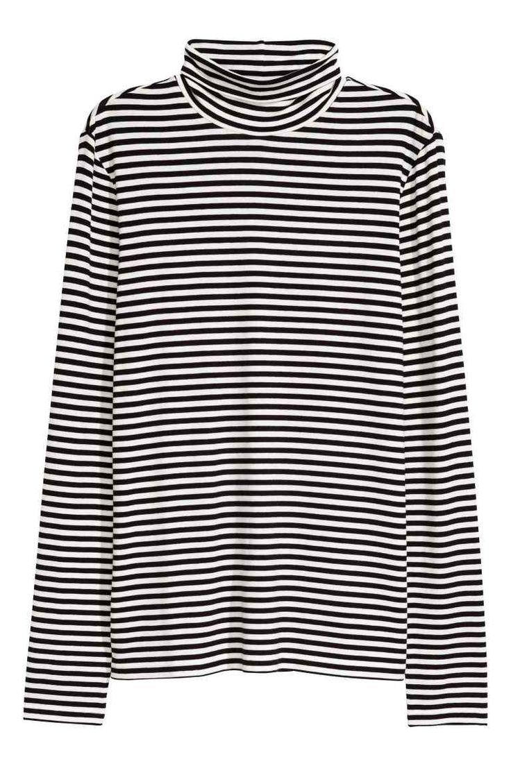 Блуза с поло яка - Бял/Черен, райета - ЖЕНИ | H&M BG