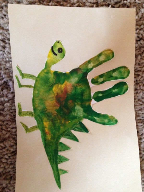 Handprint Dinosaur ~ Love the color mixture! by ksrose